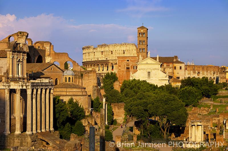 Roman Forum Ruins Coliseum Rome Italy