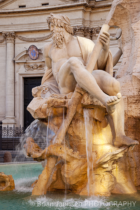 Sculpture Statue Fountain of the Four Rivers Bernini Piazza Navona Rome Italy