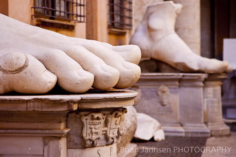 Statue Constantine Feet Toes Museum Rome Italy