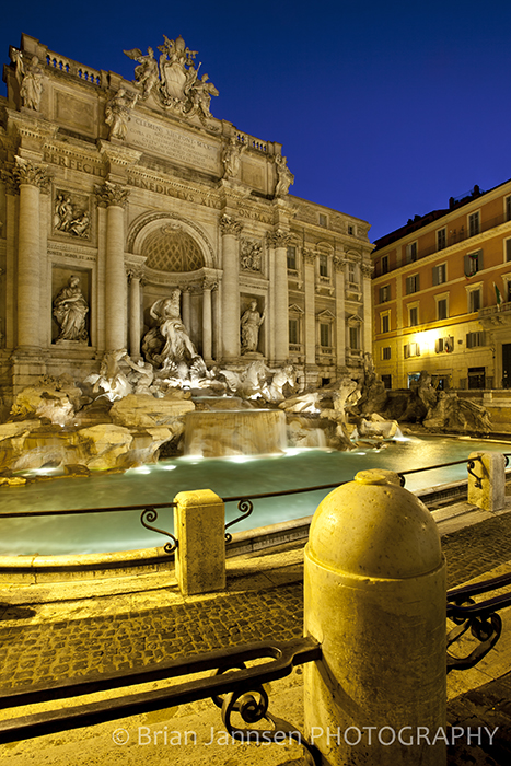 Trevi Fountain Rome Italy Twilight Dawn