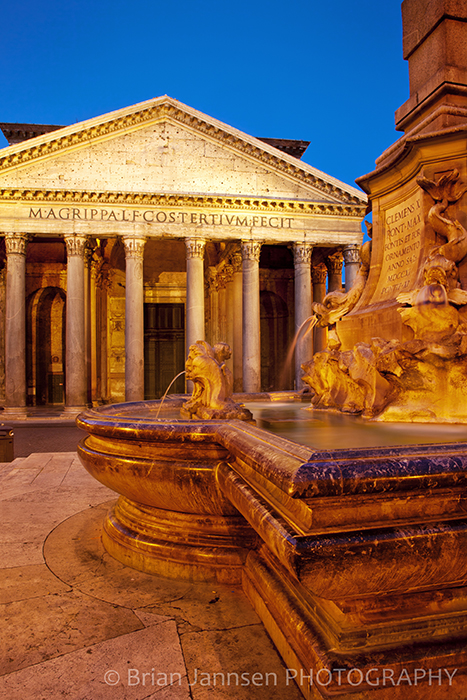 Pantheon Fountain Rome Italy Dawn