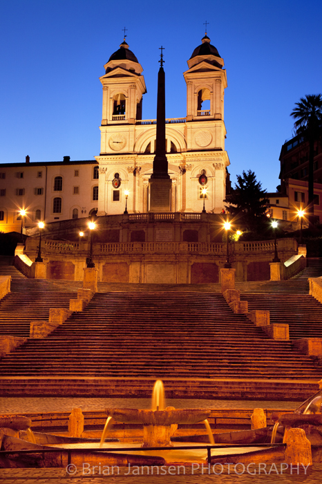 Spanish Steps Church Bell Towers Rome Italy