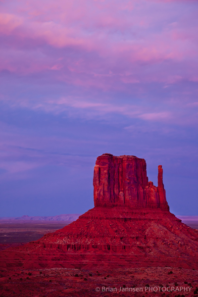 Twilight West Mitten Monument Valley Navajo Tribal Park Arizona
