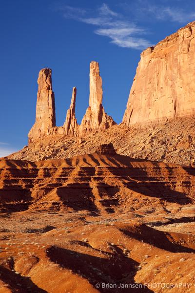 Sunrise Three Sisters Monument Valley Navajo Tribal Park Arizona