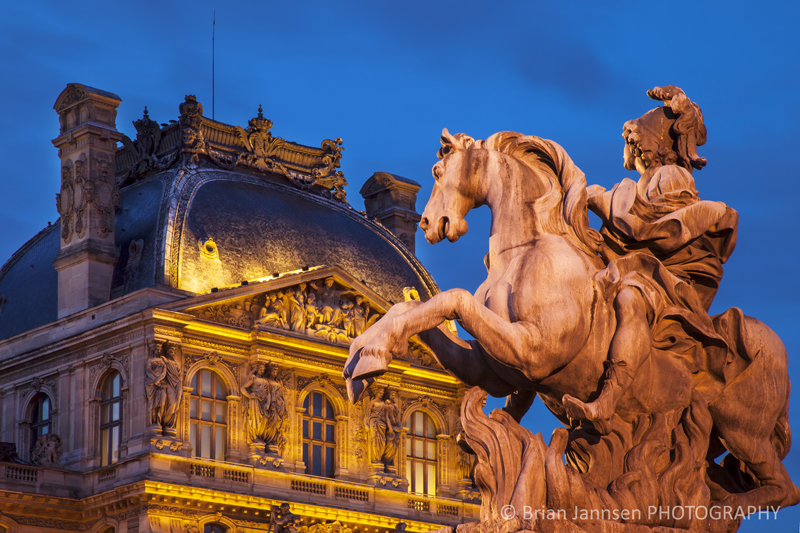 Equestrian statue King Louis XIV Musee du Louvre Paris France