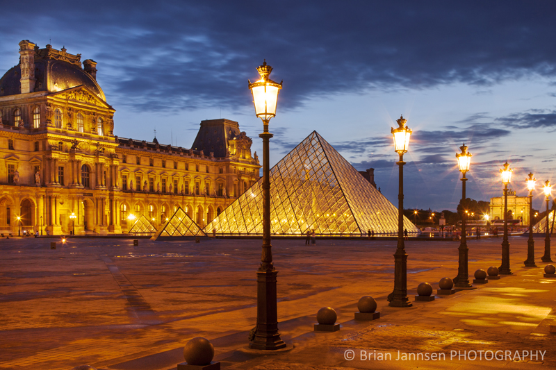 Palais du Louvre twilight Paris France