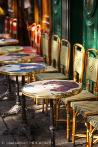 Cafe tables chairs Place du Tertre Montmartre Paris France