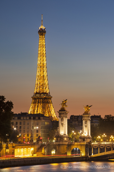 Dusk over the Eiffel Tower and River Seine, Paris France