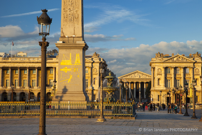 Sunset in Place de la Concorde, Paris France
