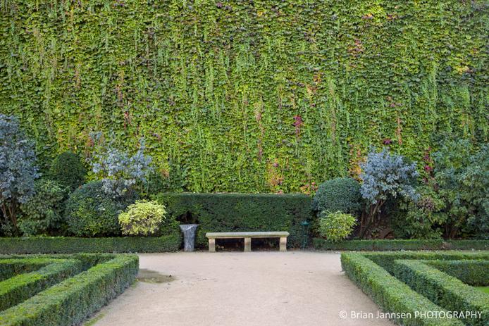 Park bench along ivy covered wall in the garden of Hotel de Sully, les Marais, Paris France