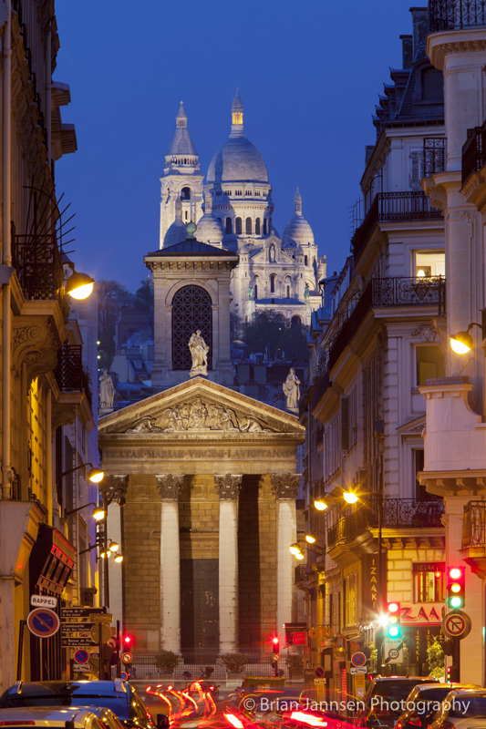 Twilight over Notre Dame de Lorette with Basilique du Sacre Coeur beyond, Paris Ile de France, France