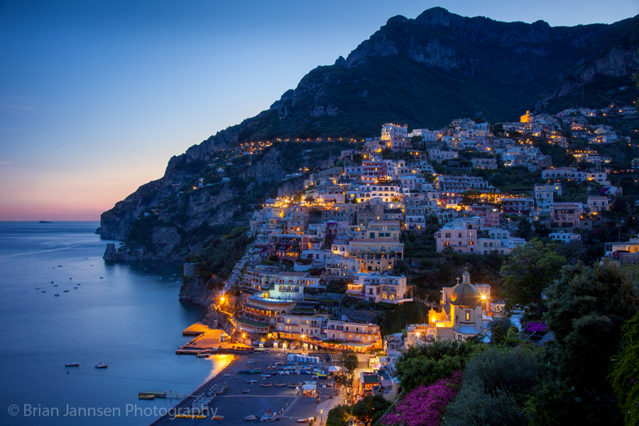 Positano along the Amalfi Coast, Campania, Italy